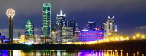 Downtown Dallas skyline reflections